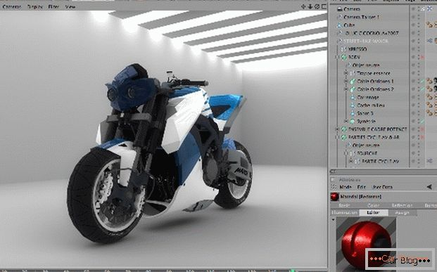 Motorcycle change in Cinema 4D