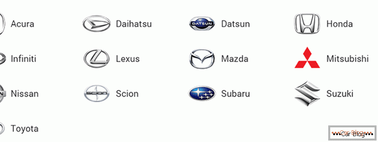 where to find all the brands of Japanese cars and their icons with the names and photos