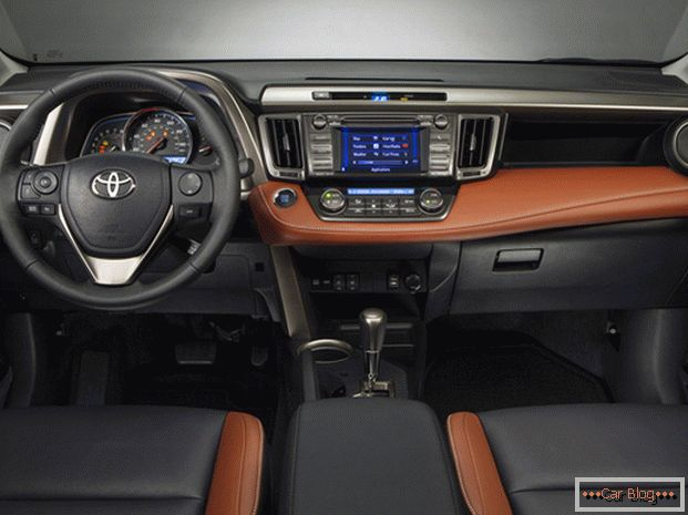 In the cabin of the car Toyota RAV4