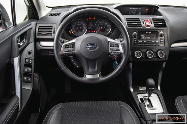 Inside the car Subaru Forester